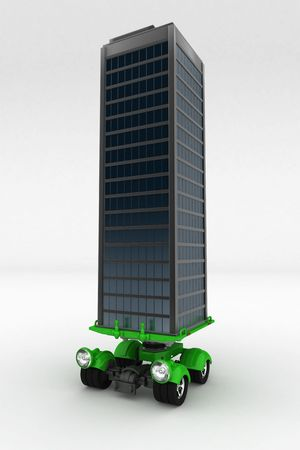 Small cargo transportation vehicle carrying a building model, 3d, isolated photo