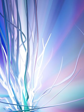 improvisation: Cold light abstract 3d growth background, vertical