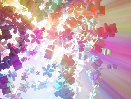 emanate: Color Spectrum abstract 3d flower shape background, horizontal