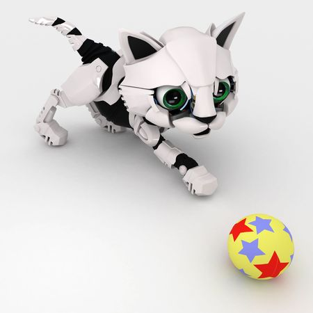 kitten small white: Small Robotic 3d Kitten Model, isolated Stock Photo