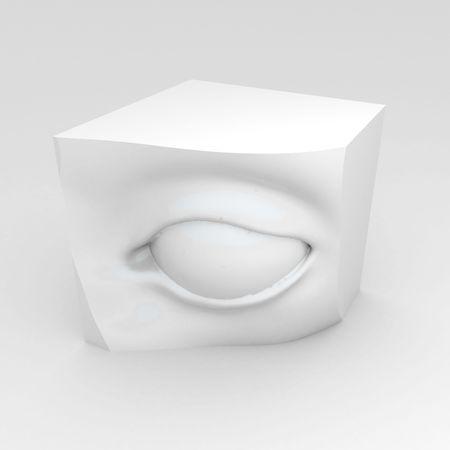 perceive: Scultura elemento 3d occhio, bianco