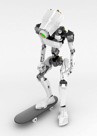 Slim 3d robotic figure, isolated Stock Photo - 5073848