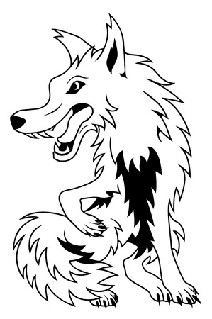 ferocious: Black and white vector cartoon wolf Illustration