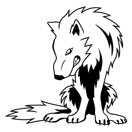 Black and white vector guarding wolf Vector
