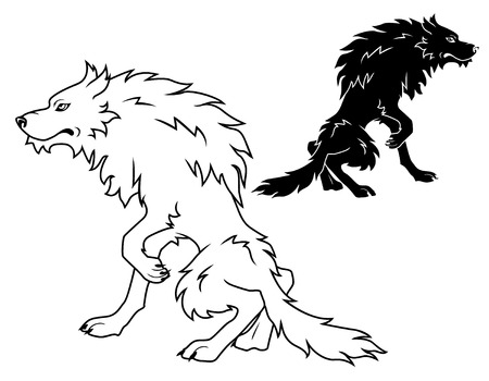 beast creature: Black and white vector large wolf