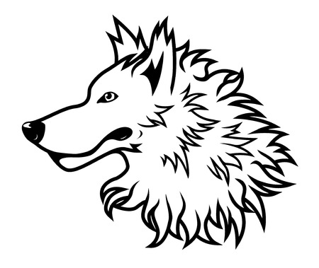 vicious: Black and white vector wolf head drawing Illustration