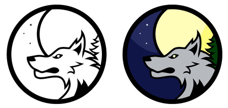 vicious: Round vector wolf emblem, colored and black and white versions Illustration