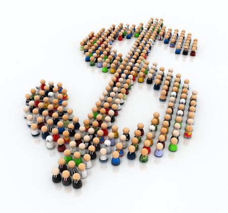 Crowd made of small symbolic 3d figures, forming a dollar sign photo