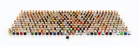 Crowd of small symbolic 3d figures, with one in front
