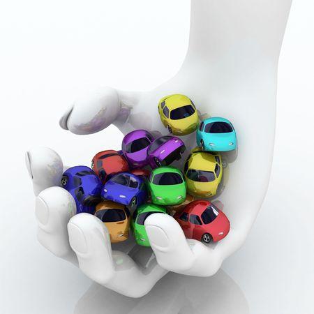 handful: Handful of Colored 3d Cartoon Cars