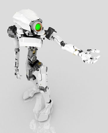 Slim 3d robotic figure, isolated Stock Photo - 5118131