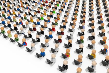 participant: Crowd of small symbolic 3d figures behind office desks, isolated Stock Photo