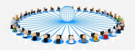 Crowd of small symbolic 3d figures connected to the internet, isolated