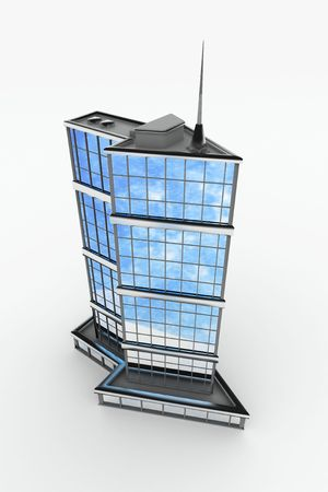 Arrow-shaped 3d modern building, isolated Stock Photo - 5194089