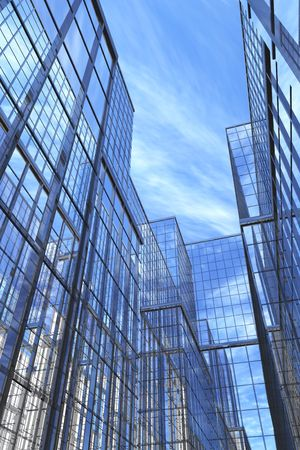 Courtyard view of modern glass and steel building, 3d photo