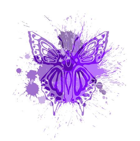 purple butterfly: Purple butterfly overlapping paint splash vector illustration