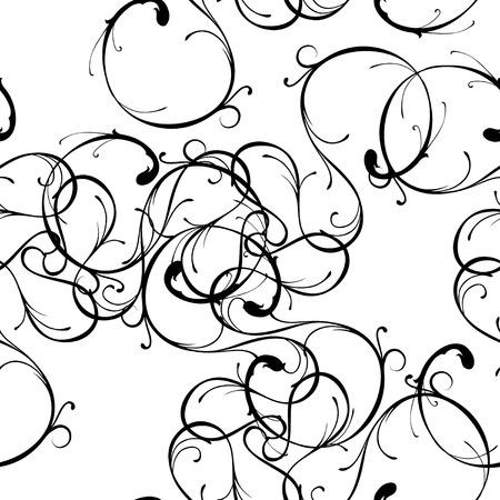 branching: Seamless tile ornate curve pattern, vector Illustration