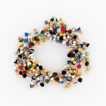 quantity: Crowd of small symbolic 3d figures in a pile, isolated