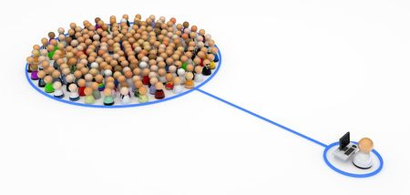 international monitoring: Crowd of small symbolic 3d figures, isolated Stock Photo