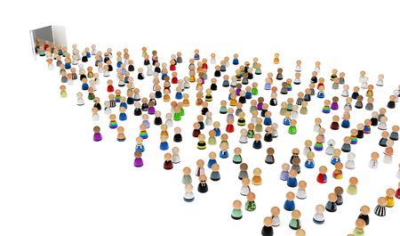 통로: Crowd of small symbolic 3d figures moving through doors, isolated