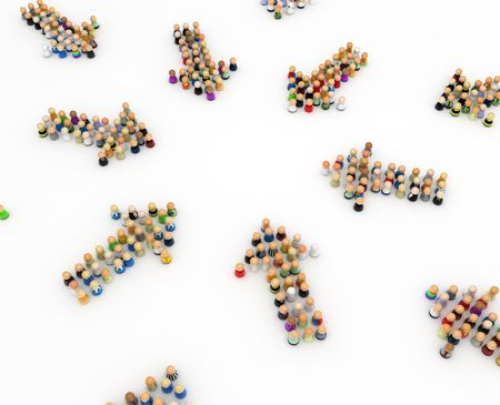 formed: Crowd of small symbolic 3d figures formed in arrows, isolated