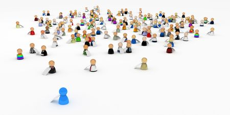 Crowd of small symbolic 3d figures with price labels, isolated photo