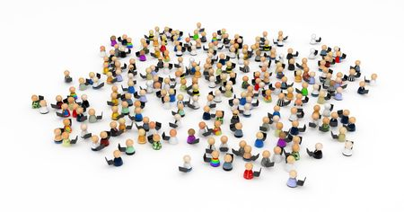 Crowd of small symbolic 3d figures with laptops, isolated