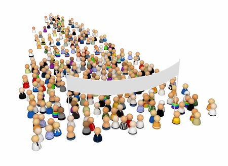 mob: Crowd of small symbolic 3d figures with large banner, isolated Stock Photo