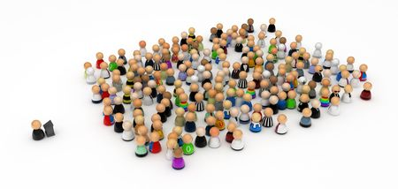 symbolic: Crowd of small symbolic 3d figures, isolated Stock Photo