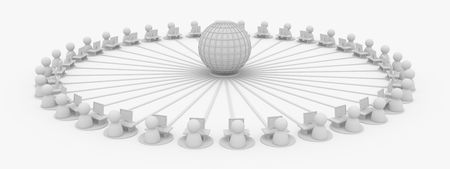 Crowd of small symbolic 3d figures connected to the internet, isolated Stock Photo
