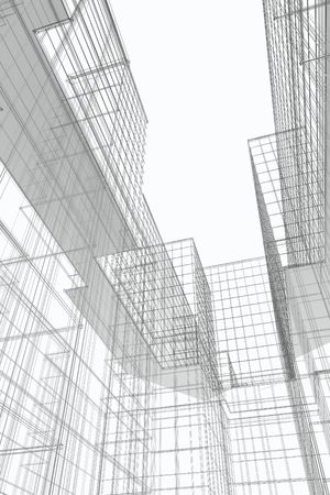 Courtyard view of modern office building, 3d wireframe Stock Photo