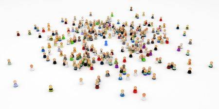 distinguish: Crowd of small symbolic 3d figures, isolated Stock Photo