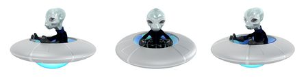 Small 3d grey alien driving UFO vehicle, isolated, front and side views photo