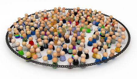 masses: Crowd of small symbolic 3d figures, isolated Stock Photo