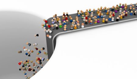 Crowd of small symbolic 3d figures, isolated Stock Photo