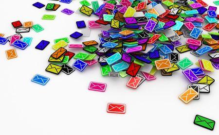 Veel kleine 3d e-mailbericht symbolen, geïsoleerde Stockfoto