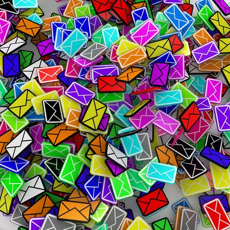 sent: Many small 3d email message symbols, square Stock Photo