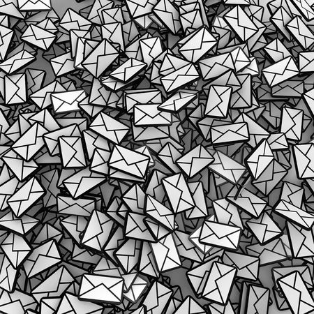 forwarding: Many small 3d email message symbols, square Stock Photo
