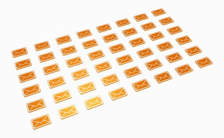 forwarding: Many small 3d email message symbols, isolated Stock Photo