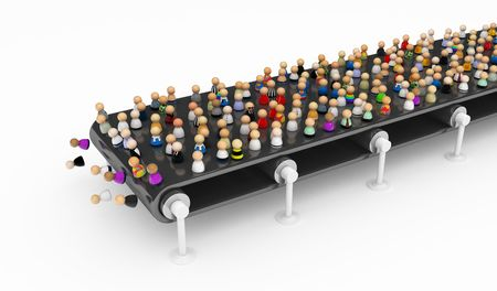 conveyor belts: Crowd of small symbolic 3d figures, isolated Stock Photo