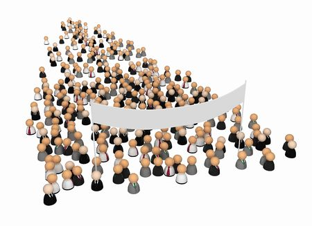 mob: Crowd of small symbolic 3d figures, isolated Stock Photo