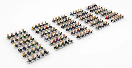 computer user: Crowd of small symbolic 3d computer user figures, isolated