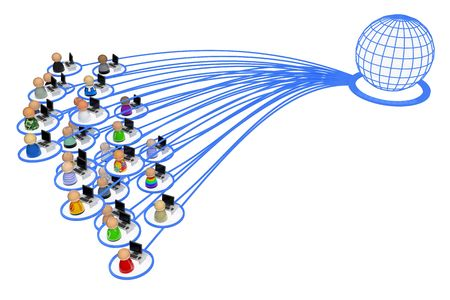 linked: Crowd of small symbolic 3d computer user figures linked by lines, isolated