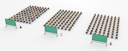 Crowd of small symbolic 3d computer user figures in front of a blackboard, isolated photo