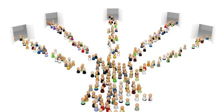 going nowhere: Crowd of small symbolic 3d figures, isolated Stock Photo