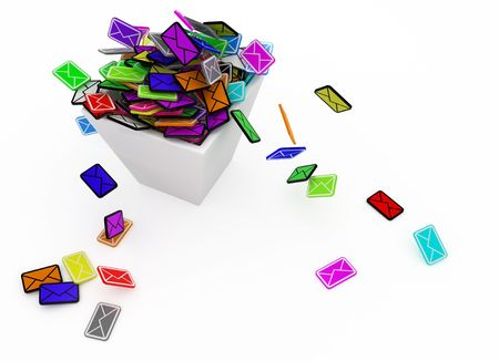 forwarding: Many small 3d email message symbols in a square bin, isolated