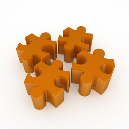Small orange 3d jigsaw puzzle pieces, isolated photo