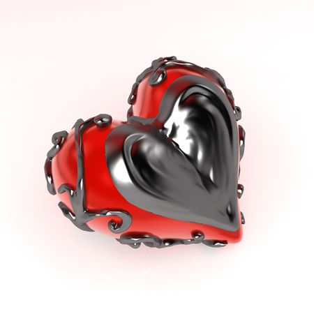 Red 3d heart enclosed in dark fretwork metal, isolated photo