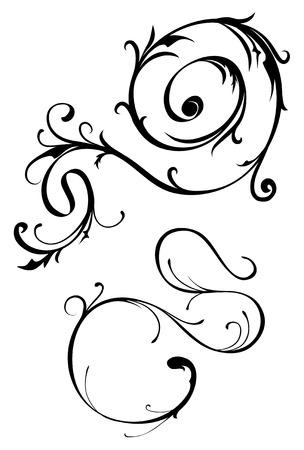 scroll design: Thin ornate vector scroll design elements