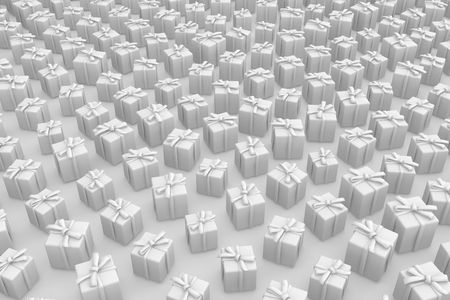 Various wrapped gift boxes, 3d background photo
